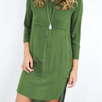 The Grand Escape Olive Hi-Low Button Down Shirt Dress With Breast Pockets