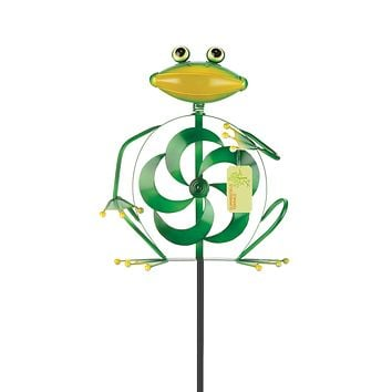 Frog Wind Spinner Yard Stake