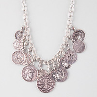 Full Tilt Boho Coin Statement Necklace Silver One Size For Women 26345614001