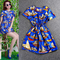 Sailboat Digitally Print Button Elastic Waist  A-Line Mini Dress