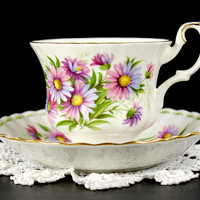 Royal Albert September Michaelmas Daisy Teacup and Saucer, Flower of the Month Series Cup 12647