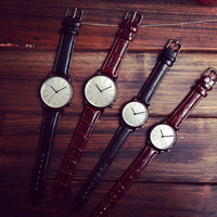 Retro Simple Style Leather Watch Unique Watches + Gift Box- 482