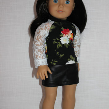 18 inch doll clothes, white lace sleeve floral baseball tee, black leather look mini skirt, american girl ,maplelea