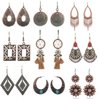 Multi Bohemian Ethnic Vintage Drop Earrings For Women Hanging Dangling Ladies Antique Alloy Moon Tassel Ear Jewelry Accessories