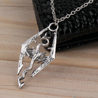 New Dinosaur Pendant Necklace Skyrim Elder Scrolls Dragon Pendants Vintage Necklace for Men/Women Jewelry Worldwide Sale