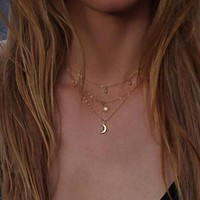 Triple Layer Star Moon Charm Necklace