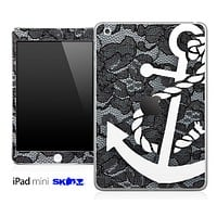 Black Laced and White Anchor Skin for the iPad Mini or Other iPad Versions