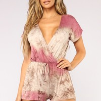 Coastal Region Tie Dye Romper - Rose