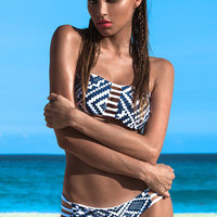 Blue&White Abstract Pattern Strapless Bikini with Strappy Cut-Outs Detail