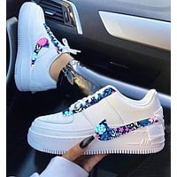 Nike Air Force 1 Af1 Women Floral Sneakers White With Purple Flower Hook Shoes