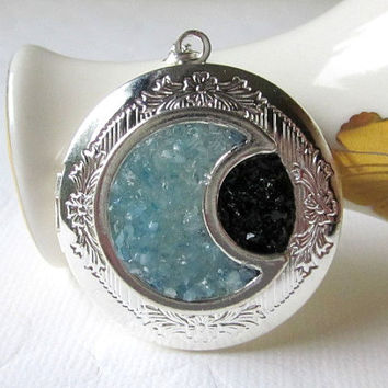 Quarter Moon Locket Black and Blue Moon Jewelry Silver Round Locket Pendant Si Fi Stained Glass Half Moon Pendant Not Mass Produced Jewelry