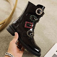 DOLCE & GABBANA D&G Women's men Leather Side Zip Lace-up Ankle Boots Shoes High Boots