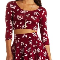 Cross-Back Floral Print Crop Top by Charlotte Russe - Wine Combo