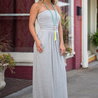 Strap-less Is More Maxi Dress, Gray