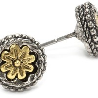 1928 Jewelry Silver Tone Brass Floral Round Stud Earrings