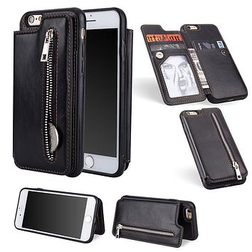Luxury PU Leather Flip Zipper Case For iPhone 6 6s 7 8 Plus X XS Max XR Wallet Card Holder Cover for Samsung Note 9 8 S9 S8 Plus