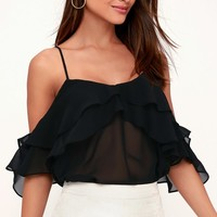 Self Esteem Sheer Black Off-the-Shoulder Top