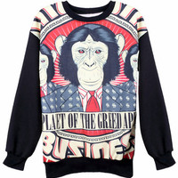 """ROMWE   """"Necktied Gorilla Musical Notes"""" Black Pullover, The Latest Street Fashion"""