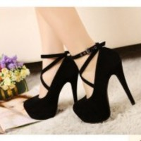Sexy Women Pumps Platform Strappy Buckle Stiletto High Heels Party Shoes Black/R