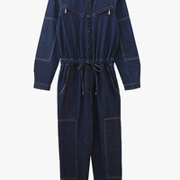 Long Sleeved Denim Jumpsuit