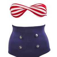 Highwaist Two-Piece Bikini Nautical Sailor Bikinis Swimsuit Bathing Suit Swim Beach Beachwear Retro Vintage Outfit OOTD Fashion Style S M L