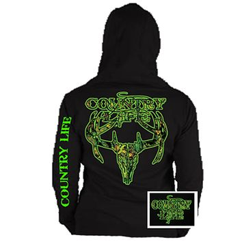Country Life Outfitters Black & Green Camo Realtree Deer Skull Head Hunt Vintage Unisex Hoodie
