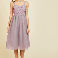 Couth and Charismatic Midi Dress in Lilac