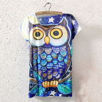 Short Sleeve Owl Graphic Printed T-Shirt Tee Blouse Tops