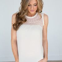 Embroidered Lace Top Sleeveless Blouse - Cream