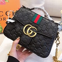 GUCCI New fashion stripe more letter print leather chain handbag shoulder bag crossbody bag Black