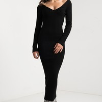 YOU AND ME LONG RIBBED SWEATER DRESS - What's New