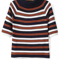 Funnel Collar Striped Knit Short Sleeve Sweater