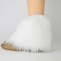 White Fur Ankle Boot Covers FREE SHIPPING - White Fur Boot Covers, Furry Boot Covers, Faux fur Boot Covers, White Ankle Boot Covers