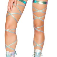 "Iridescent Foil 100"" Leg Wrap with Attached Garter"