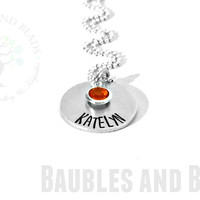 Hand Stamped Mommy Necklace with Childs' Name & Birthstone