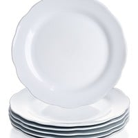 YHY 10.6-inch Porcelain Scallop Dinner Plate Set, White Serving Platters, Set of 6