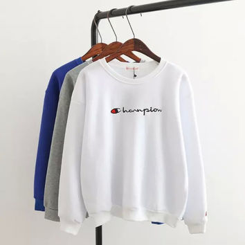 Letter Embroidered Pullover Shirt