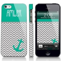 Chevron Anchor Sailor Nautical Personalized Phone Case iPhone 4 / 4S, iPhone 5, 5S Galaxy S3, S4 Fashion Cute Cover Zig Zag Nautical Marine Boat Cover