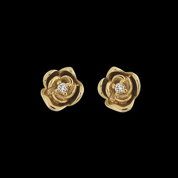 14kt Diamond Rose Studs