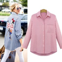 Plus Size Women Shirts And Blouses Ladies One Pocket Turn-down Collar Full Sleeves Casual Printed Shirts Womens Tops Summer