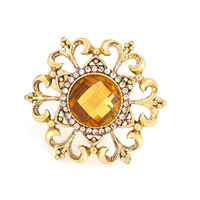 Gold-Tone Metal Filigree Yellow Crystal Ring Adjustable To Fit All Sizes