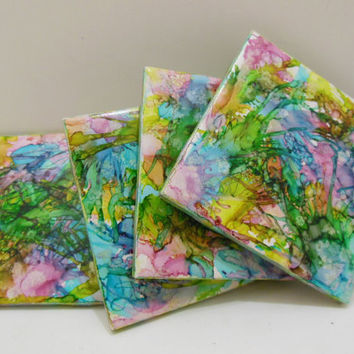 Ceramic Tile Coasters - Decorative Ceramic Tiles - Painted Tile Coaster Set