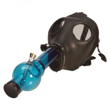 Gas Mask Water Pipe - Sealed Acrylic Water Pipe - Various Colors
