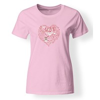 Love Hearts and  Shiba Inu T-shirt Ladies Cut Short Sleeve Double ExtraLarge BB4484-978-2XL