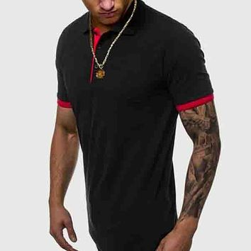 Fashion Casual Men Contrast Binding Polo Shirt