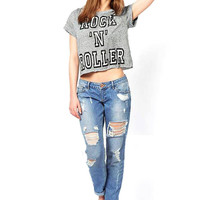 Vintage T-shirt With Letter Print
