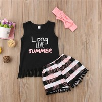 Vest Top+Floral Shorts With Headband Baby Girl Summer Clothes