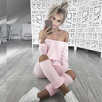 2016 Autumn Off Shoulder Jumpsuits Long Sleeve Slim Rompers Womens Jumpsuit Sexy Club Party Jumpsuits Hole Playsuits for Women