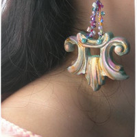 BAROQUE EXTRAVAGANT Earrings by La Polena Colorful mint Gold Silver and Pink Unique handpainted handmade jewelry ETSYITALIATEAM