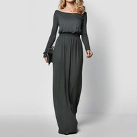 Elegant Maxi Dress Women Long Sleeve Retro Slash Neck Spring Autumn